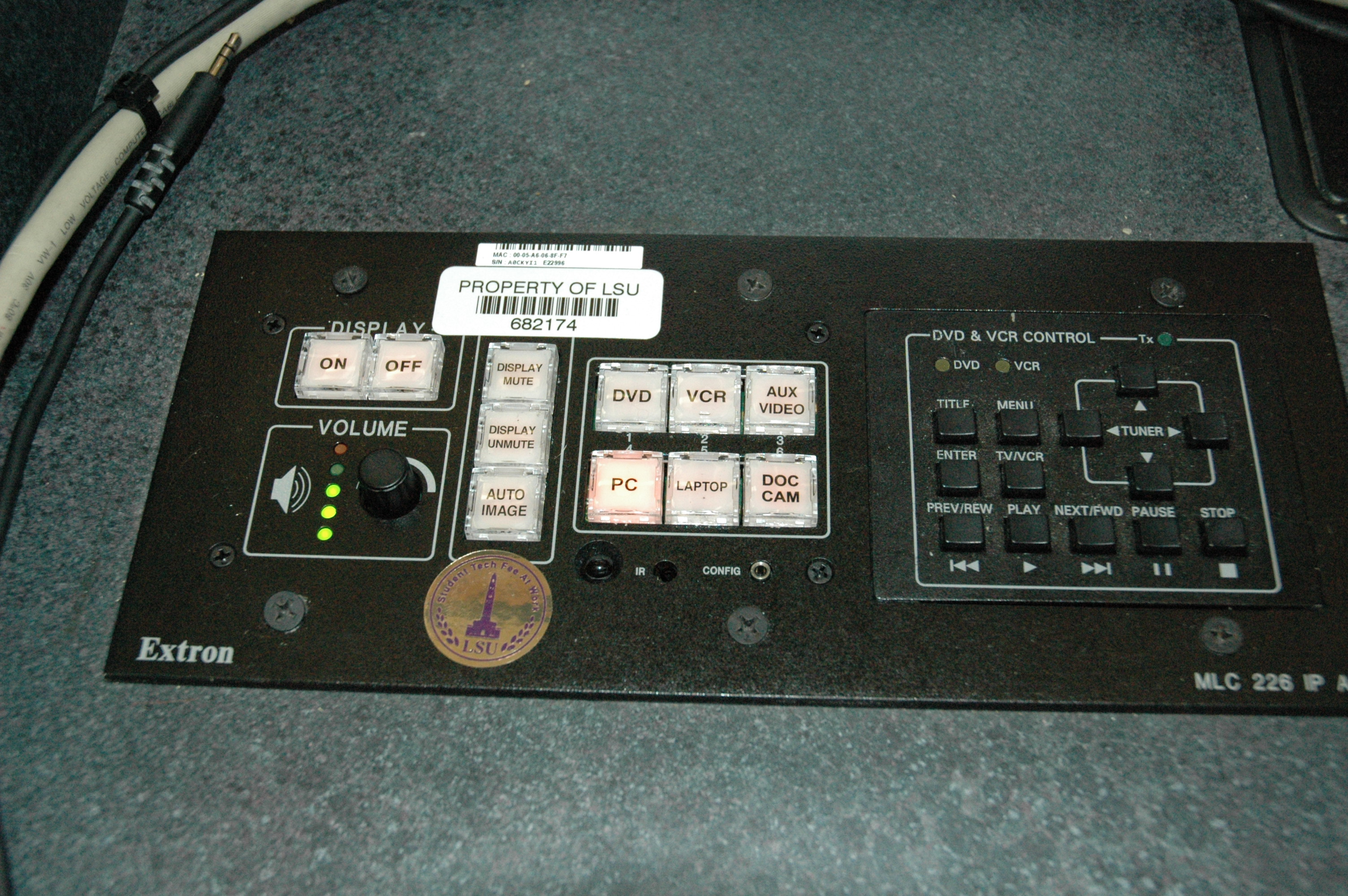 Close Up of controls on Multimedia Station