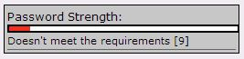 screenshot of the Option Red for Password Strength.