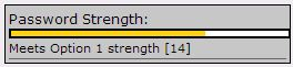 screenshot of the Option 1 (yellow) for Password Strength.