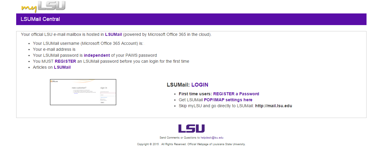 screenshot of the lsumail central windows box,